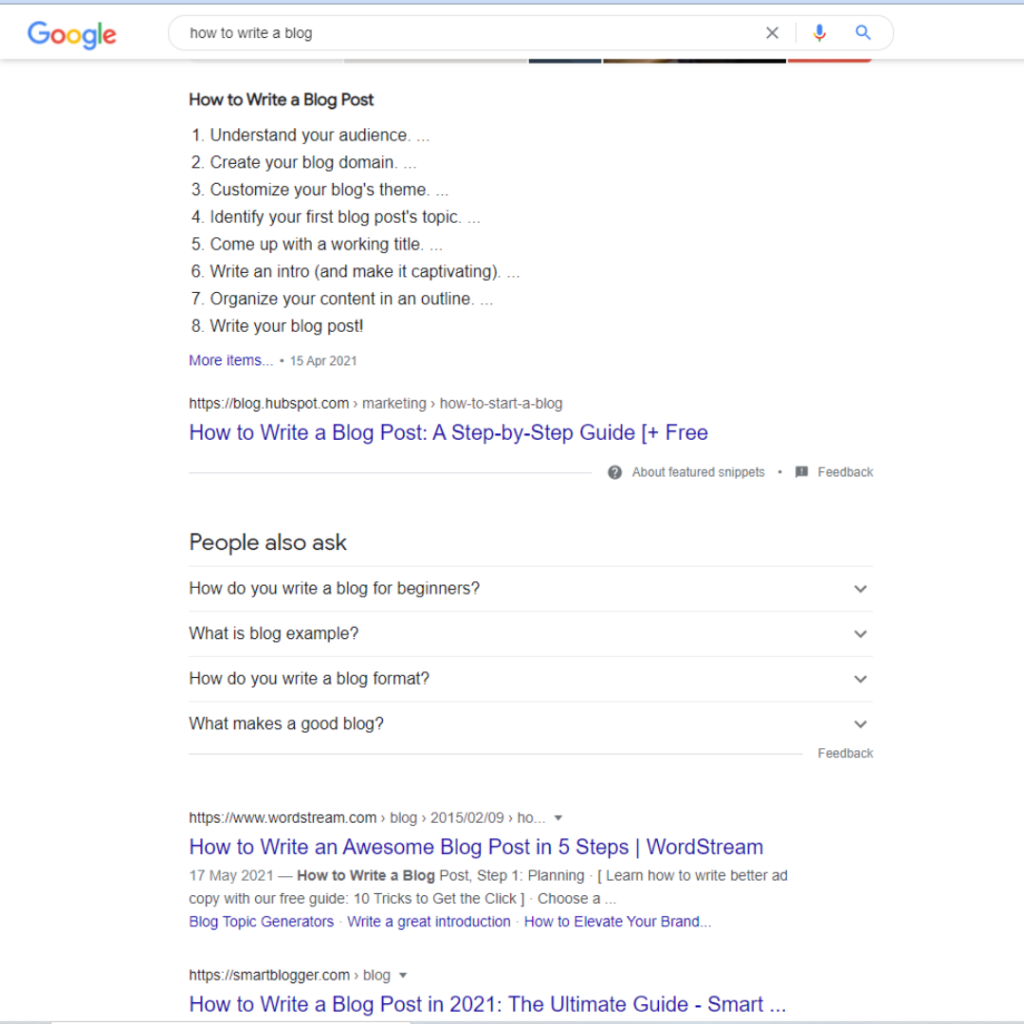 using google's 'people also ask' feature to help find your blog topic for marketing